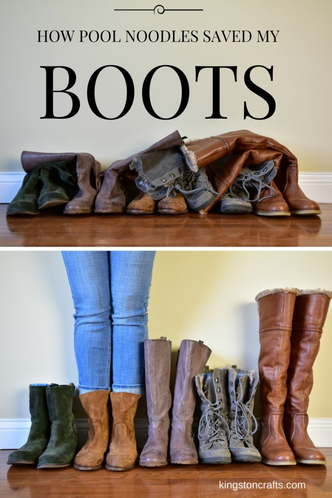Pinterest Hack – Use Pool Noodles to Organize and Store Your Boots! from The Kingston Home