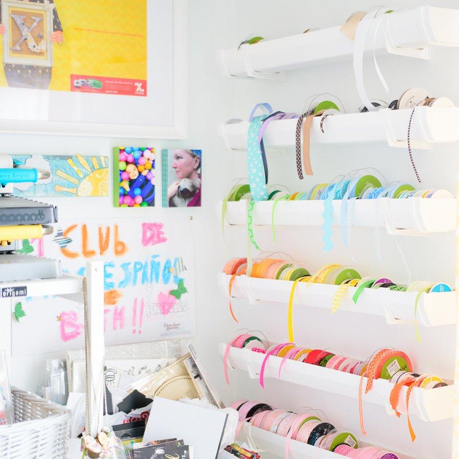 Ribbon storage in craft room
