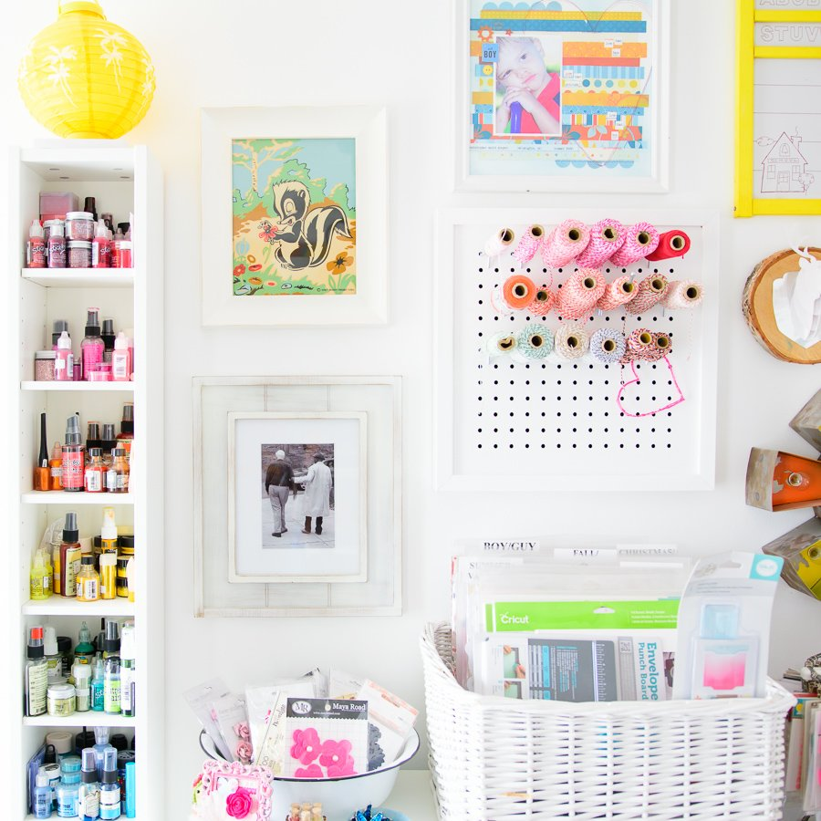 Paint and twine storage in craft room