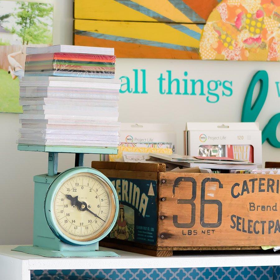 Paper pad storage in craft room