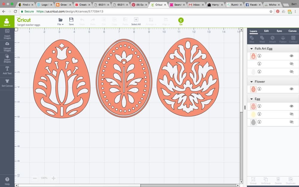 select an Easter egg from cricut design space