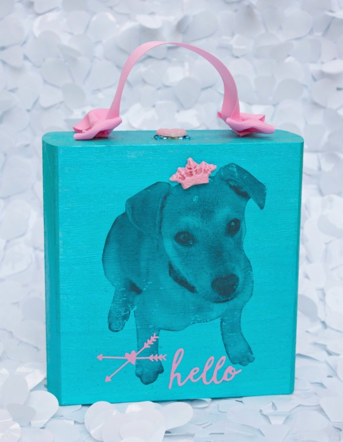 wooden purse with dog design Mod Podge craft project