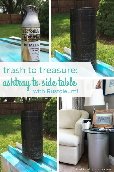 Trash to Treasure Ashtray to Side Table With Rustoleum - The Kingston Home