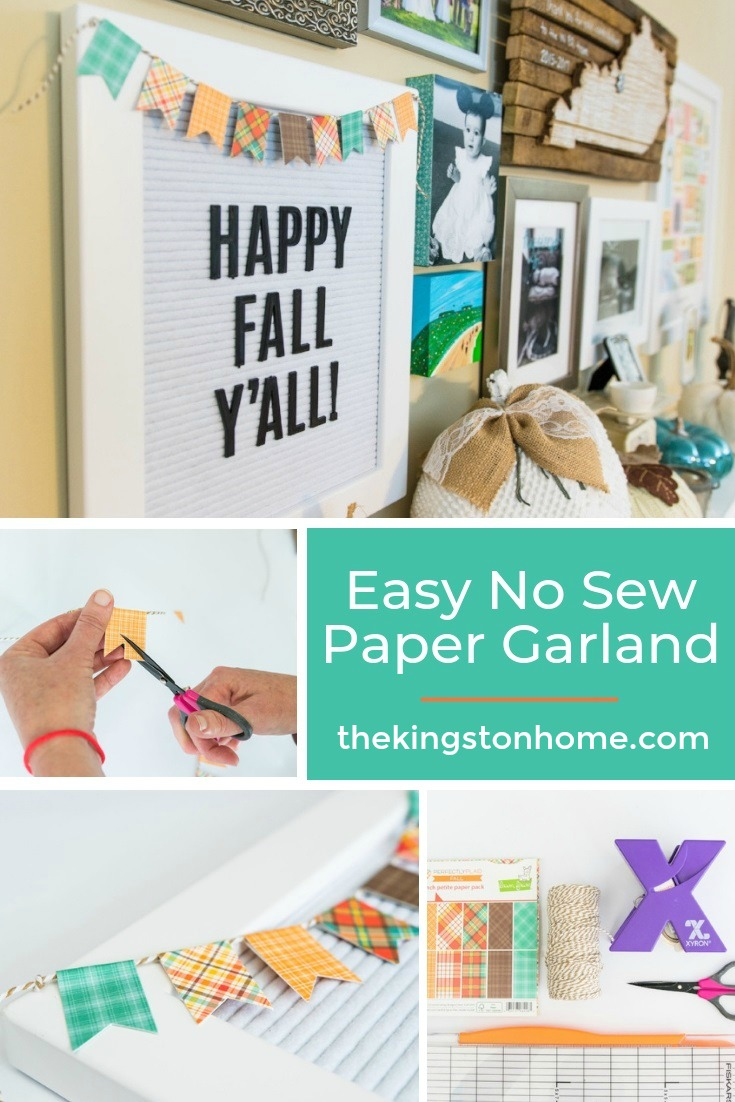 Easy No Sew Paper Garland - The Kingston Home: Learn how to turn a few scraps of paper and some twine into a no-sew paper garland that is perfect for any letter board! via @craftykingstons