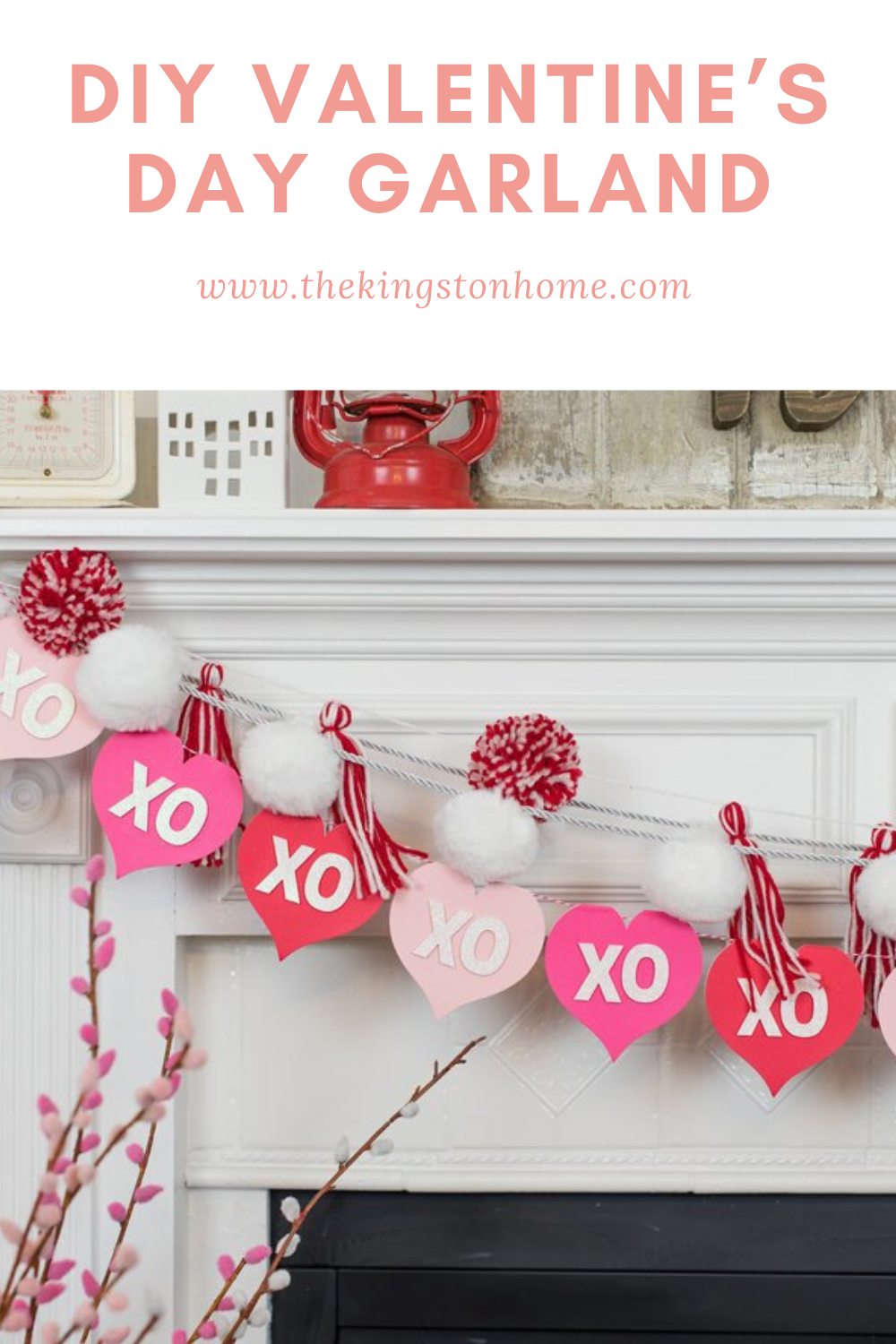 DIY Valentine's Day Garland - The Kingston Home: Turn heart-shaped cards from Michaels into the perfect Valentine's Day Garland with the help of the Cricut Maker! via @craftykingstons