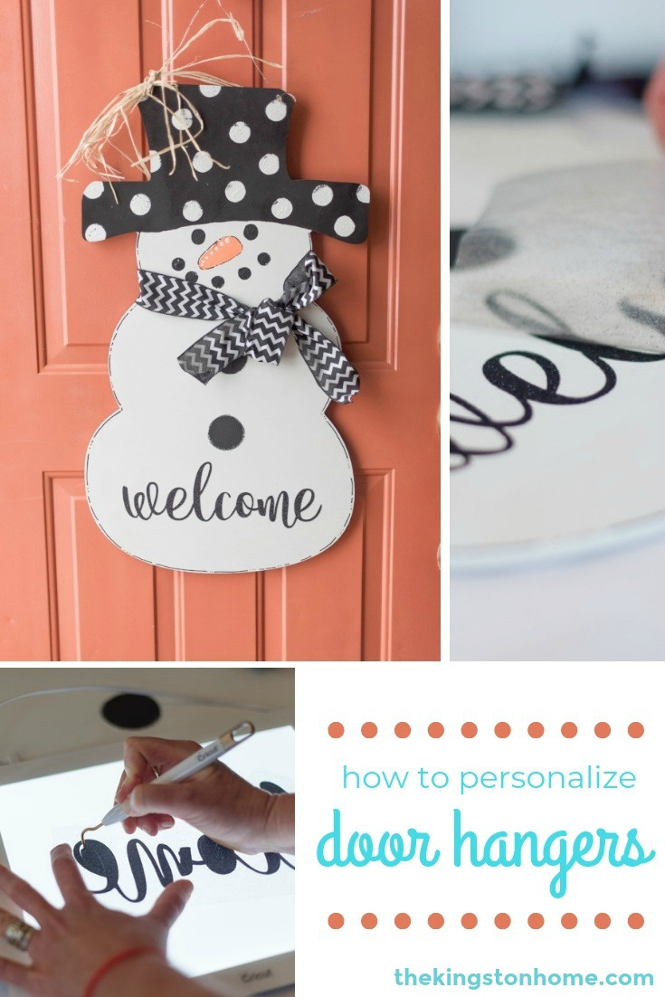Personalized Door Hangers and How to Hang Them - The Kingston Home: In just a few minutes with your Cricut EasyPress you can personalize wood door hangers without worrying about your terrible handwriting! via @craftykingstons