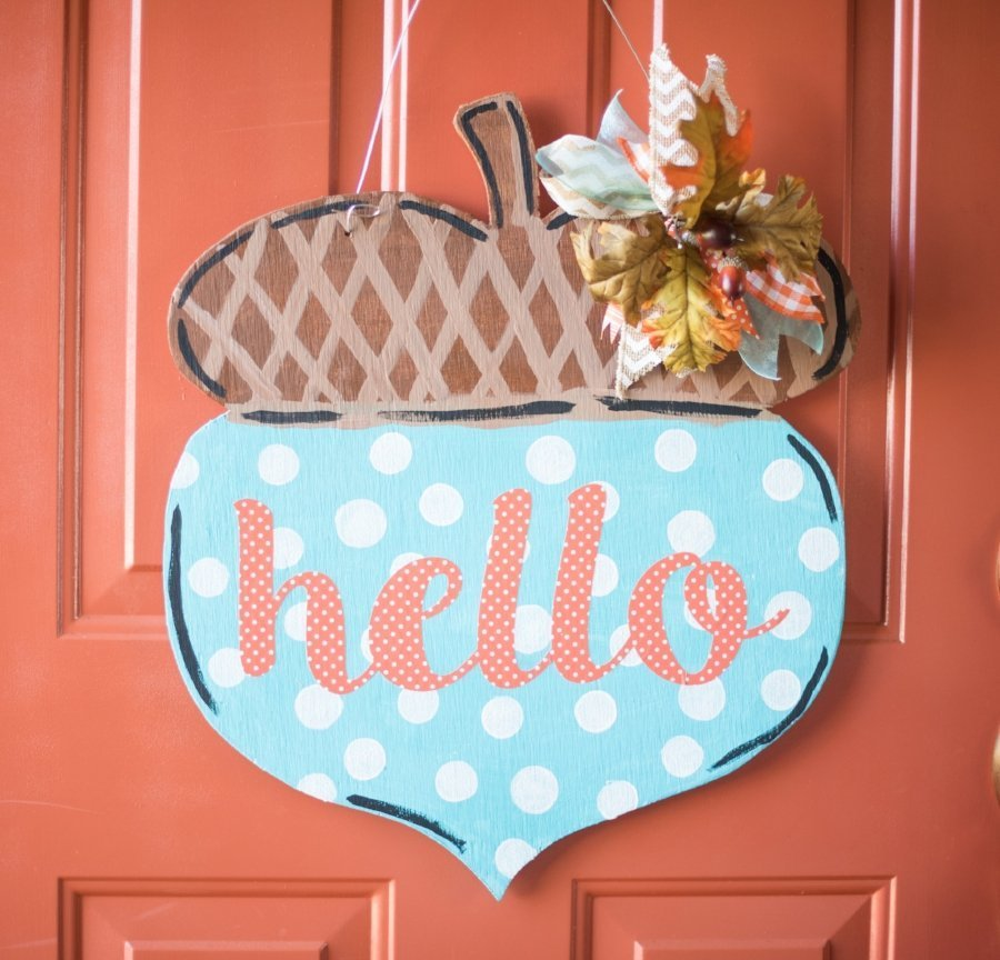 fall acorn door hanger
