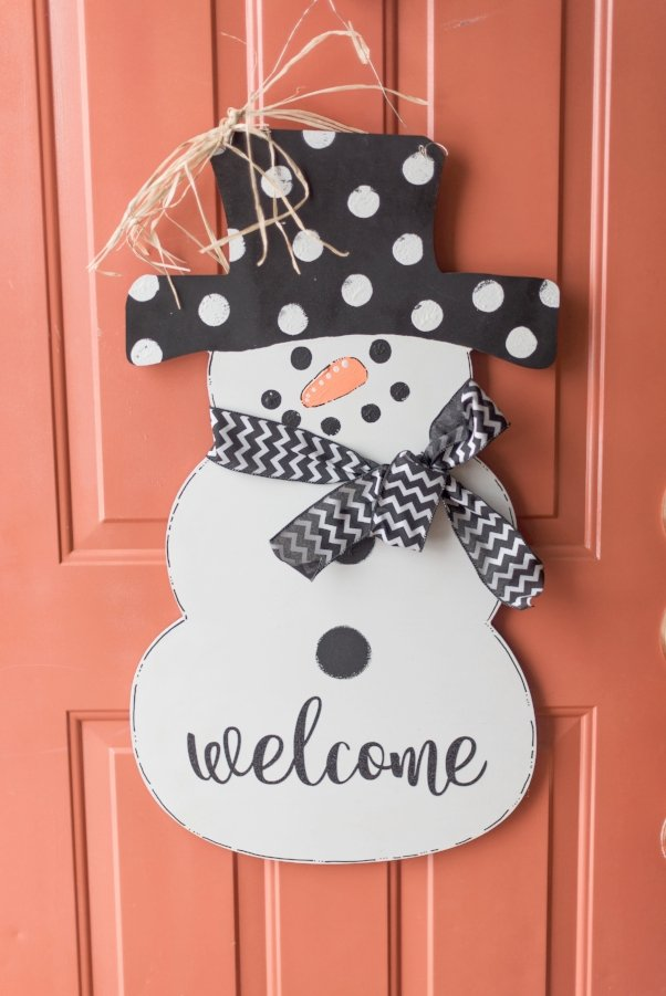 snowman welcome door hanger