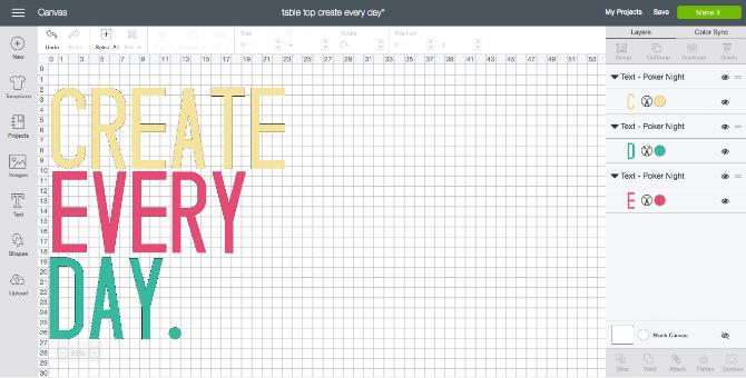 open cricut design space and create your stencil