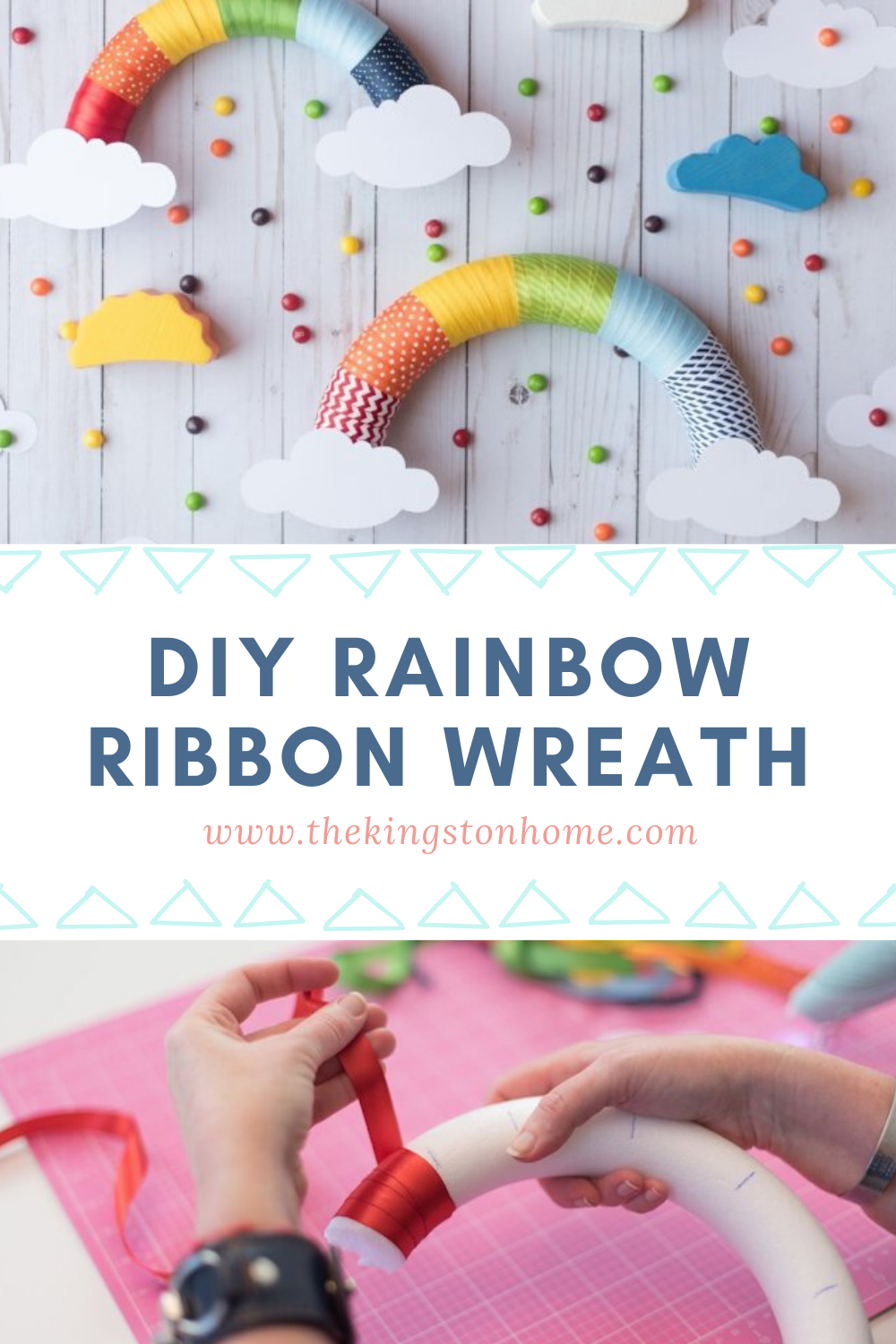 DIY Rainbow Ribbon Wreath - The Kingson Home: Looking for something to do with that leftover ribbon? Grab a hot glue gun and a foam wreath to create a DIY rainbow ribbon wreath - perfect for birthday parties, kids crafts, classroom decor and more. via @craftykingstons