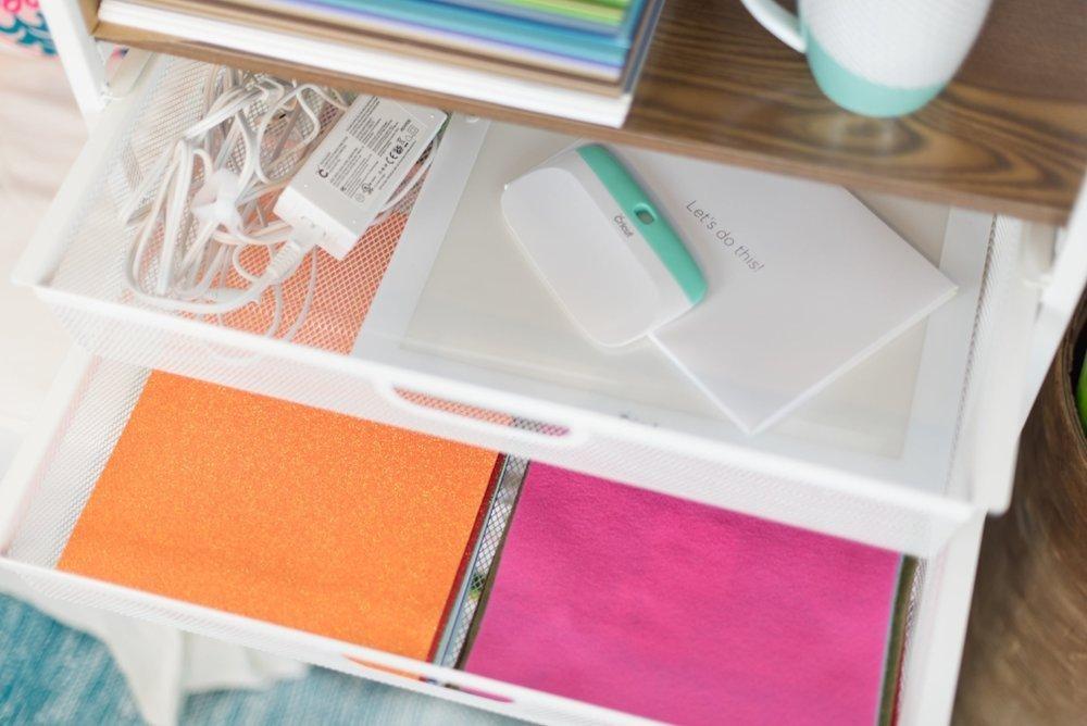cricut supplies on origami cart