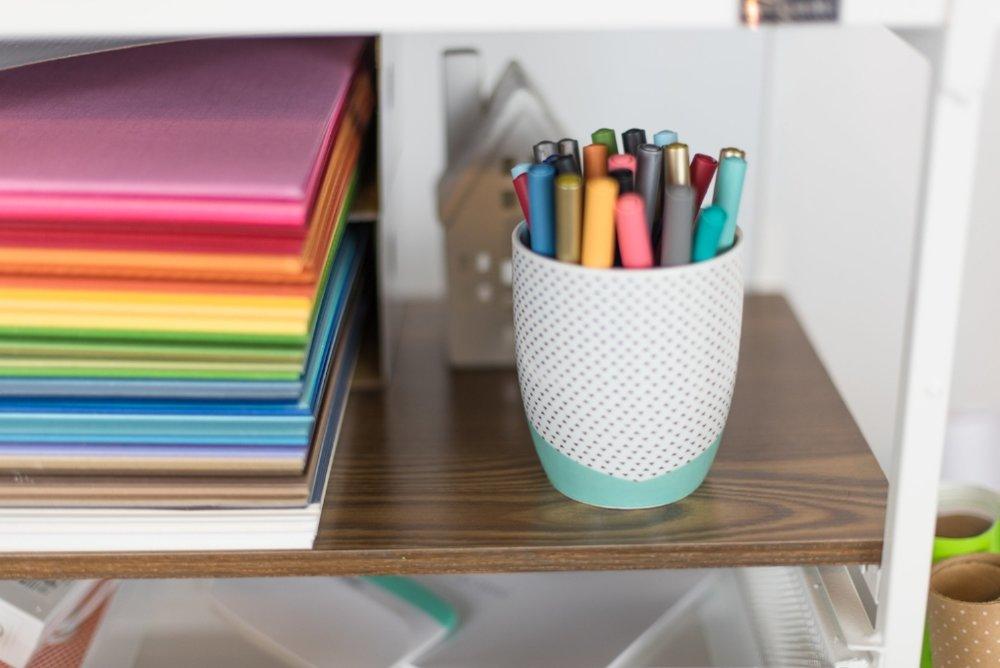 pens on orgiami cart