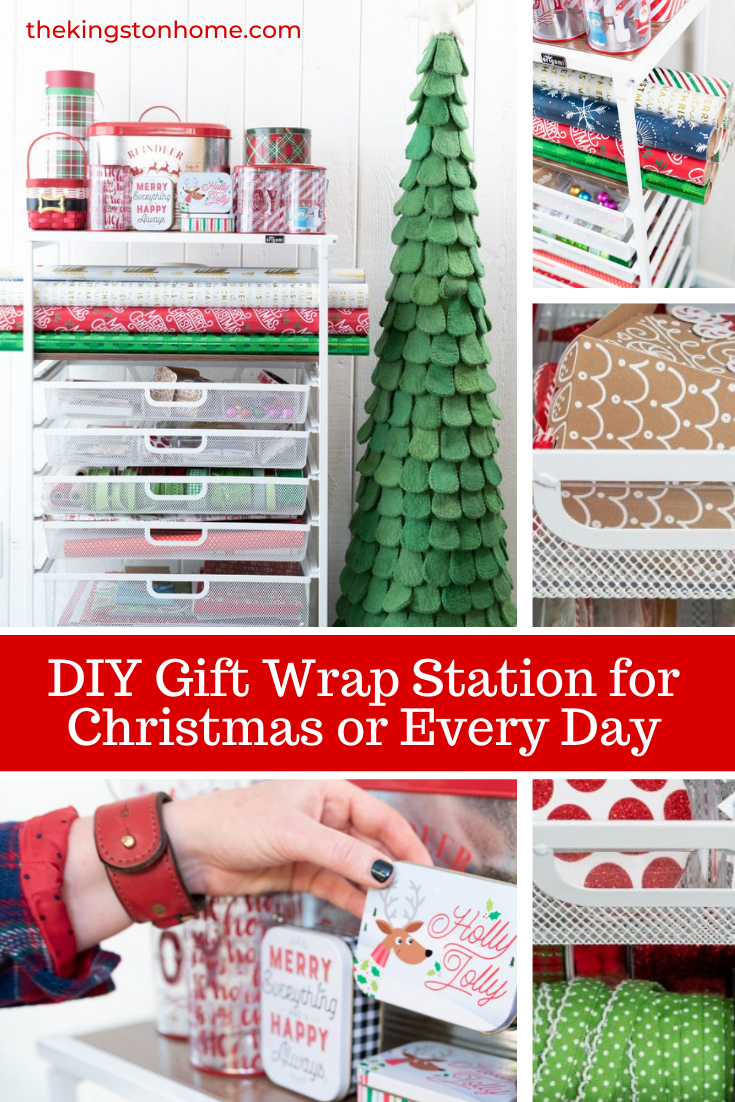 DIY Gift Wrap Station for Christmas or Every Day - The Kingston Home: Have you ever wished that you could have all of your gift wrapping supplies sorted, stored, and organized? We created our own gift wrap station using an Origami Craft Cart. Best of all - it can be reorganized just in time for Christmas! via @craftykingstons