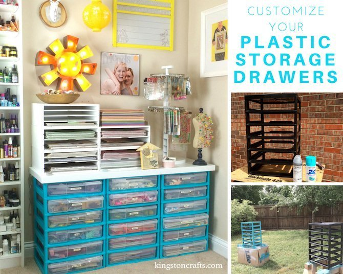 blue painted plastic storage drawers with craft supplies inside