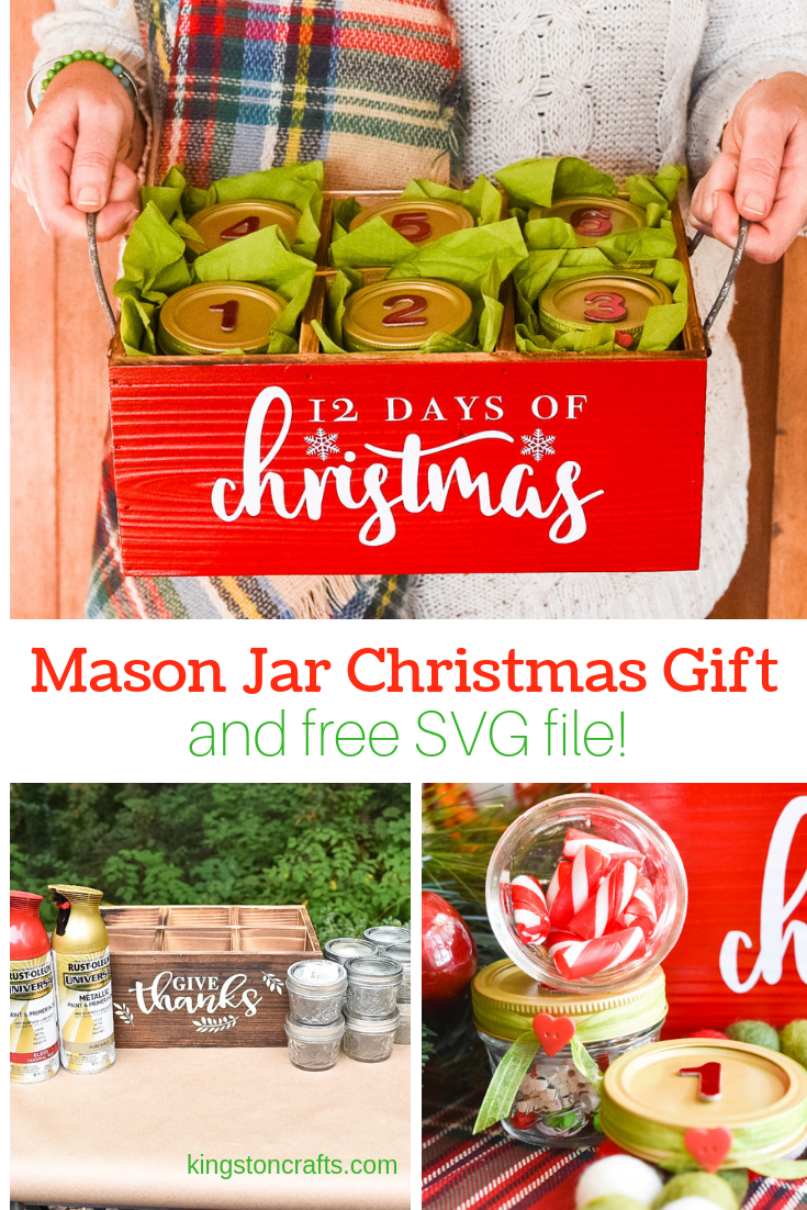 Mason Jar Christmas Gift and free SVG file