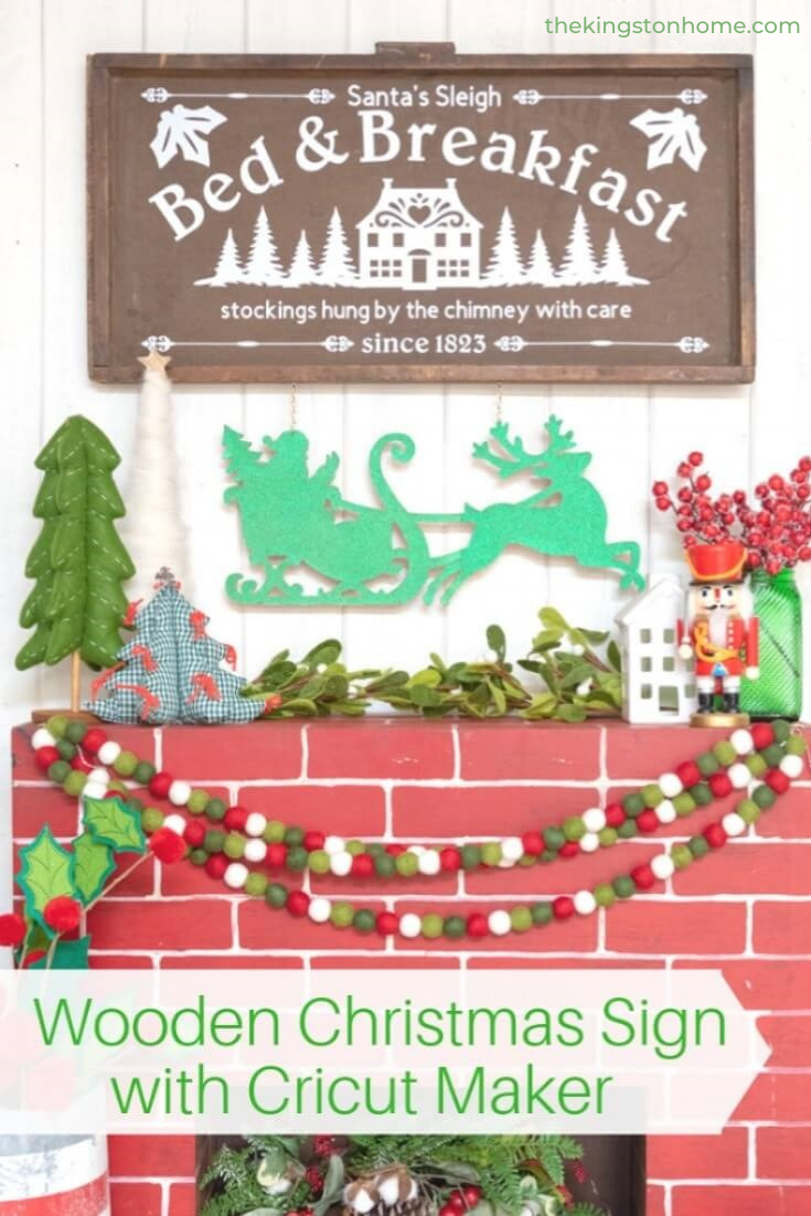 Wooden Christmas Sign with Cricut Maker - The Kingston Home: Christmas is almost here and that means we're decking the halls! You can create this Wooden Christmas Sign with the Cricut Maker and have a custom home decor piece you'll treasure for years. via @craftykingstons