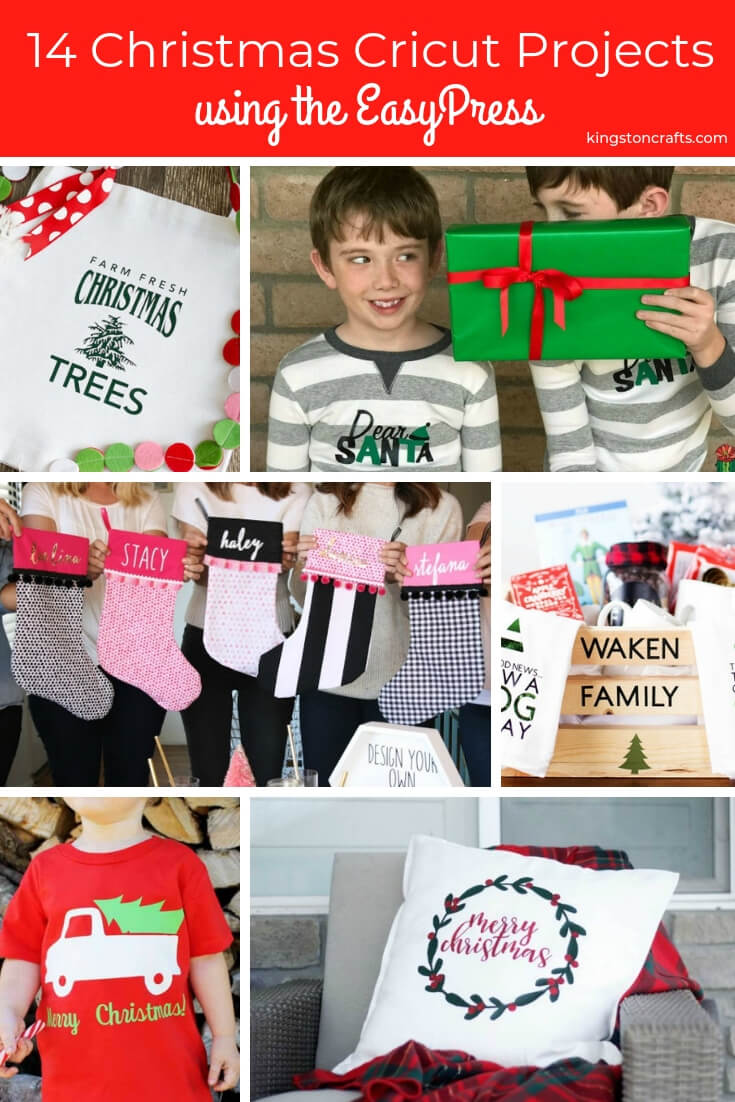 14 Christmas Cricut Projects using the EasyPress- The Kingston Home: Christmas is almost here, so we have rounded up 14 easy Christmas Cricut projects that you can make with your EasyPress! via @craftykingstons