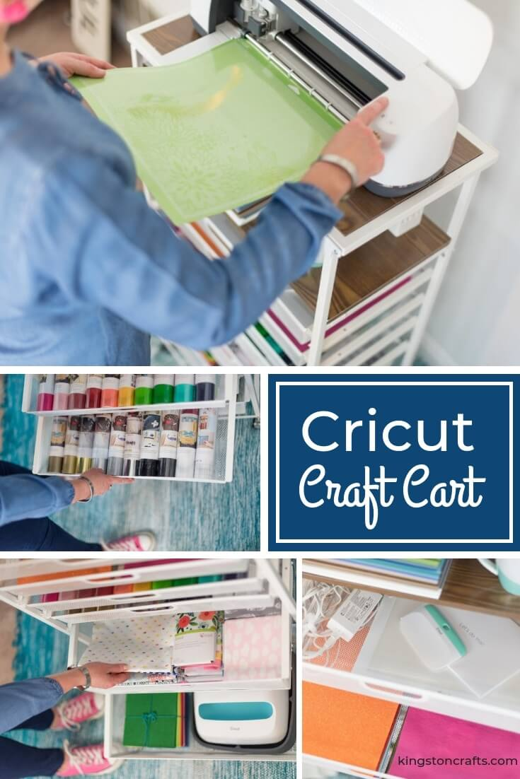Cricut Craft Cart from Origami - The Kingston Home: Who wouldn't love to be a little more organized AND look cute? If you are new to Cricut, or are a long time user but need to organize your supplies, then this Cricut Craft Cart from Origami is gonna rock your world. via @craftykingstons