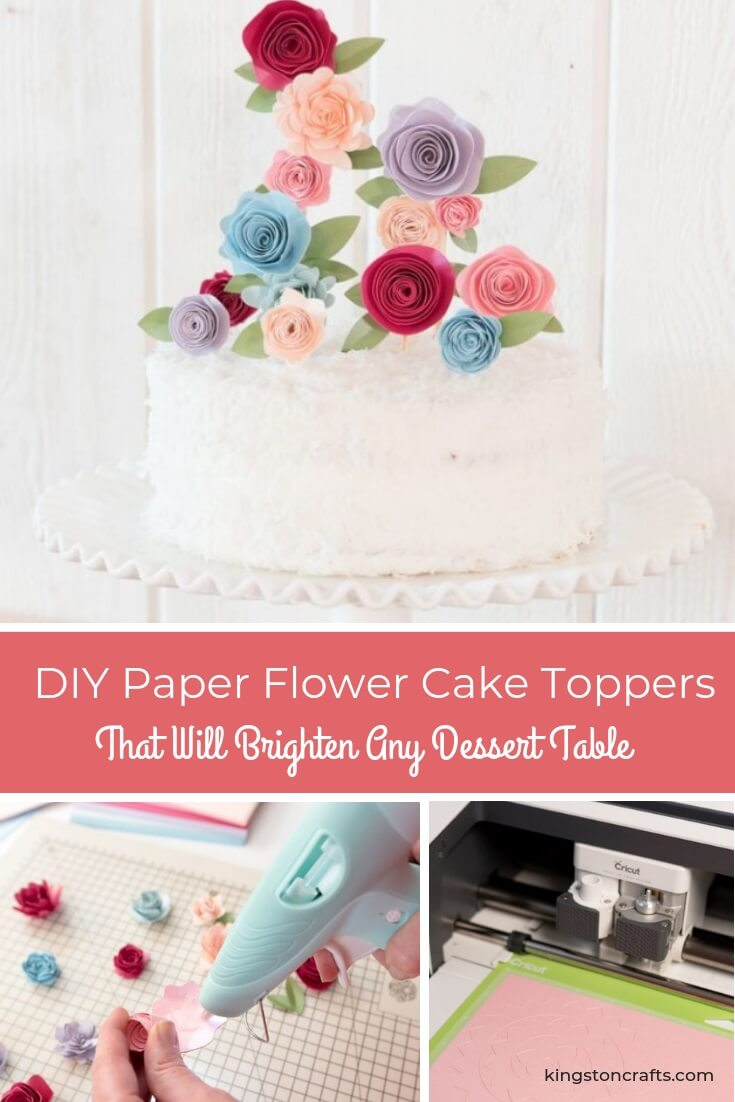 DIY Paper Flower Cake Toppers That Will Brighten Any Dessert Table - The Kingston Home: Learn how to create a unique paper flower cake topper that can be used to decorate almost any dessert! via @craftykingstons