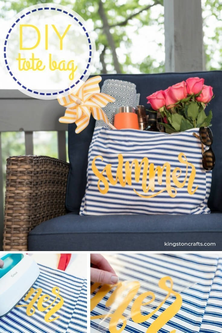 """Easy DIY Summer Tote Bag - The Kingston Home: Summer is still in full swing here – and as much as we love it we also know it means toting lots of """"stuff"""" for the kids! Of course we want to look cute doing it, so today we're going to learn how to make an easy DIY Summer Tote Bag in just a few minutes! via @craftykingstons"""