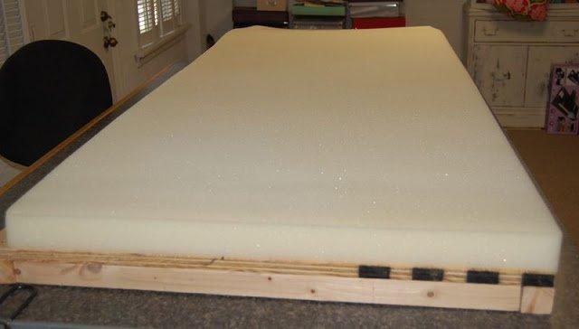 apply urethane foam sheet on top of wood panel bench top