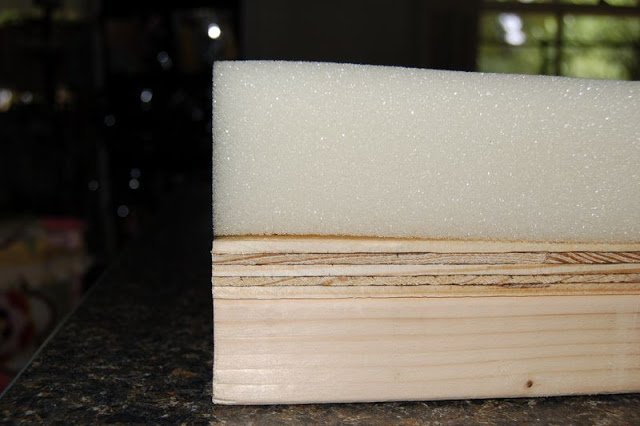 urethane foam sheet on top of wood panel bench top