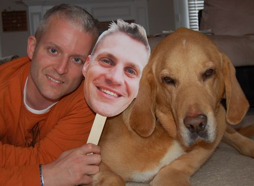 man with dog holding flat daddy craft project