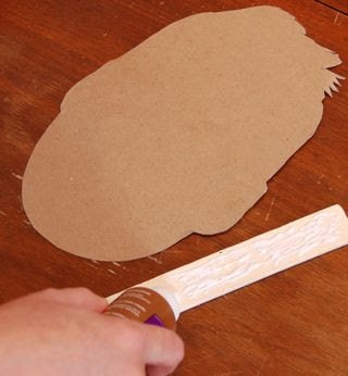 cardboard cutout and paint stirrer stick with Aleene's All Purpose Tacky Glue