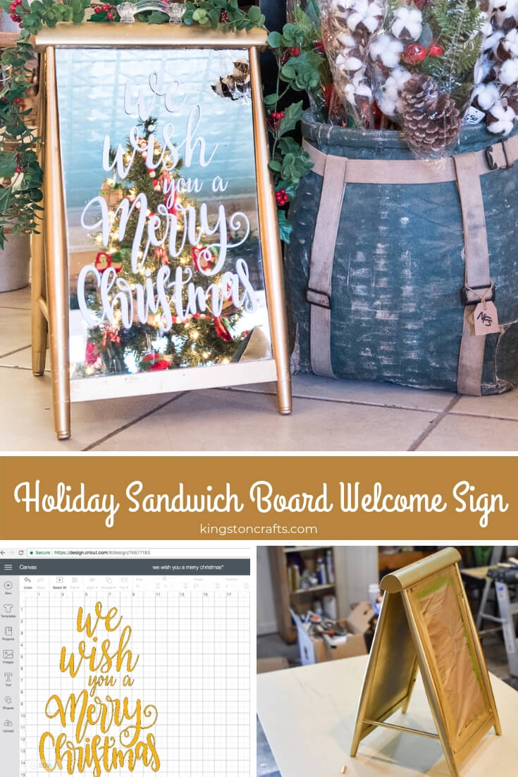 Holiday Sandwich Board Welcome Sign - The Kingston Home: Learn how to create a simple holiday sandwich board welcome sign, that will add the perfect finishing touch to your holiday home decor via @craftykingstons