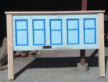 headboard made from old door standing up