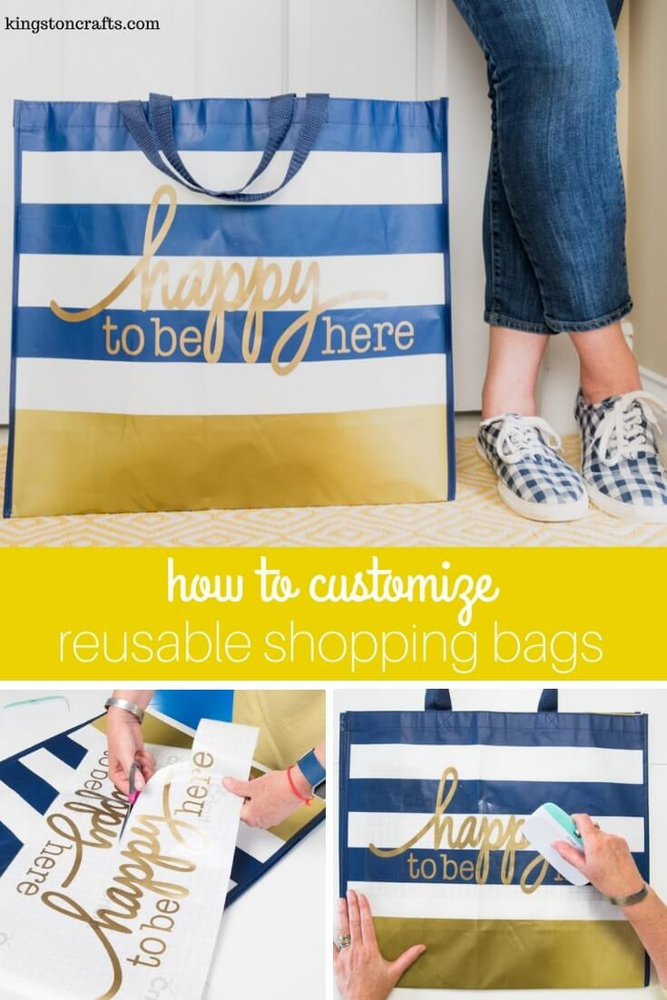How to Customize Reusable Shopping Bags - The Kingston Home: You can customize reusable shopping bags in just a few minutes with your Cricut Explore Air and your favorite color of Cricut vinyl! via @craftykingstons