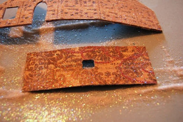 tap off excess glitter on Melissa Frances Chipboard House