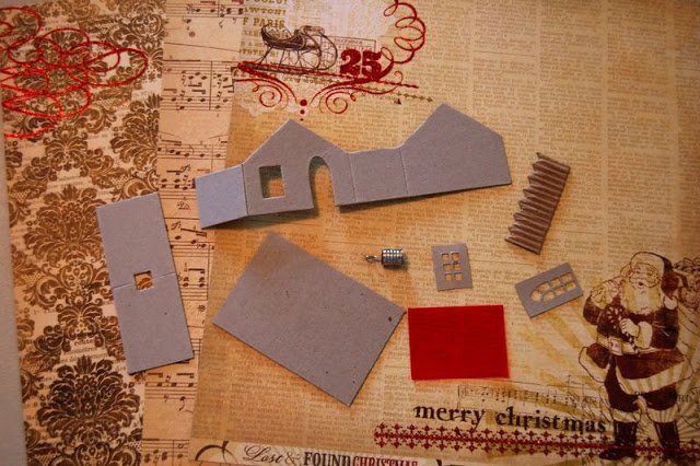 Melissa Frances Chipboard House with Christmas scrapbooking paper