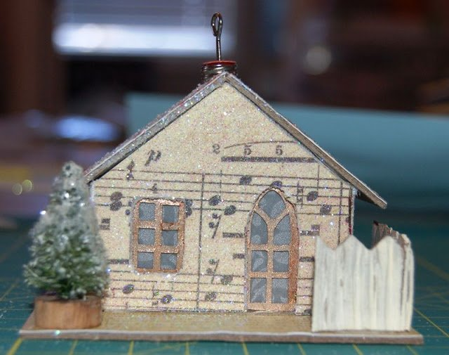 Melissa Frances Chipboard House with tree and fence