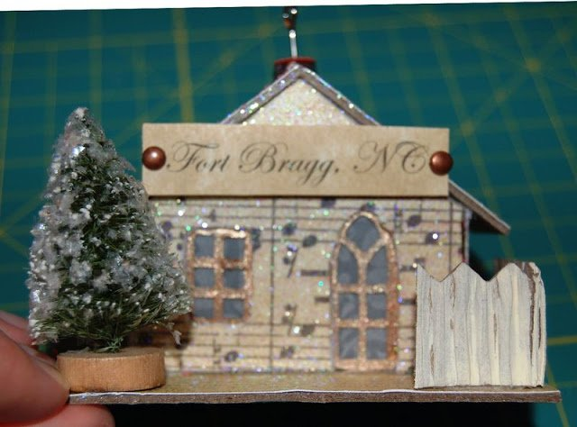 Melissa Frances Chipboard House with Fort Bragg, NC plaque