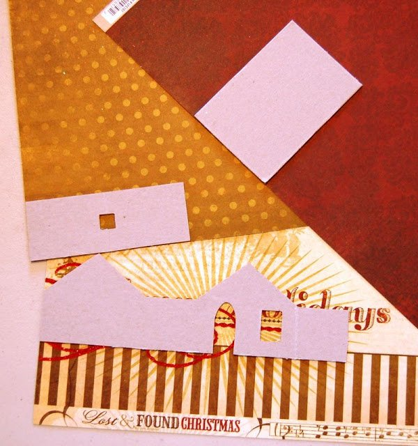 Melissa Frances Chipboard House on Christmas scrapbooking paper