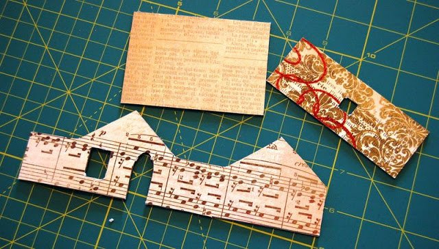 Melissa Frances Chipboard House covered in scrapbook paper