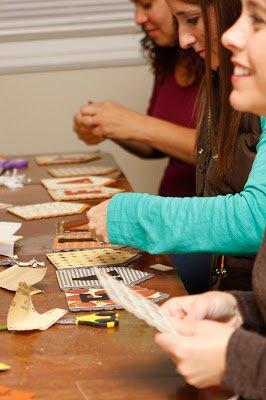 women crafting fall banner