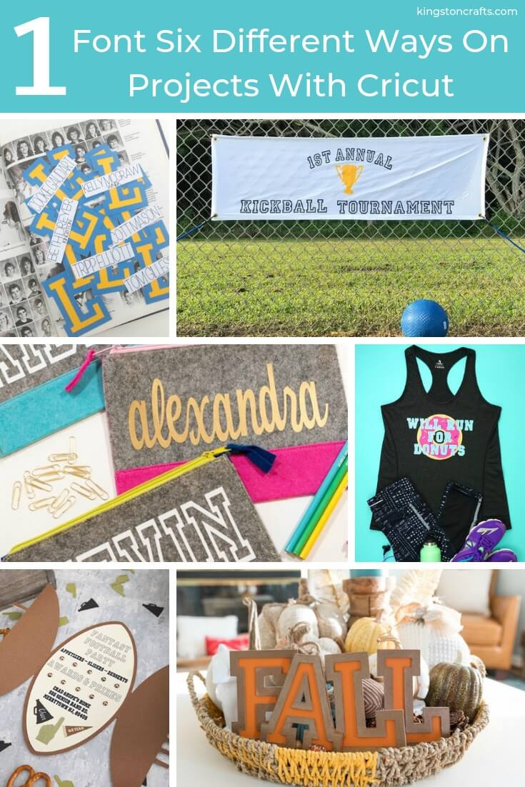 One Font Six Different Ways on Projects with Cricut - The Kingston Home: Learn how easy it is to take one font from Cricut Design Space and turn it into six unique projects! via @craftykingstons