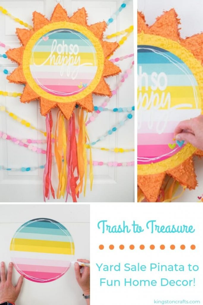 Trash to Treasure Yard Sale Pinata to Fun Home Decor - Kingston Crafts