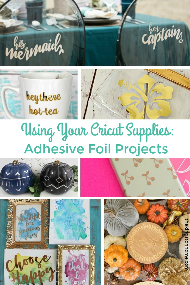 Using Your Cricut Supplies: Adhesive Foil Projects - The Kingston Home: With just your Cricut machine and some Cricut Adhesive Foil, you can add a bit of glam to almost any project! via @craftykingstons