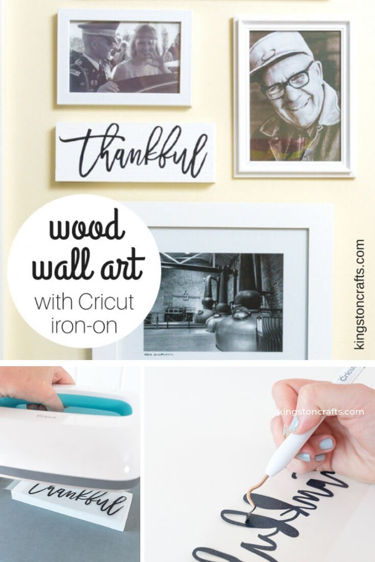 Wood Wall Art with Cricut Iron On - The Kingston Home: I love collage walls and every time we move (thanks Army!) one of my favorite projects is reconfiguring our photos and art in to our new home. With a piece of scrap wood and my Cricut I can create wood wall art to fill those inevitable gaps in my collage! via @craftykingstons