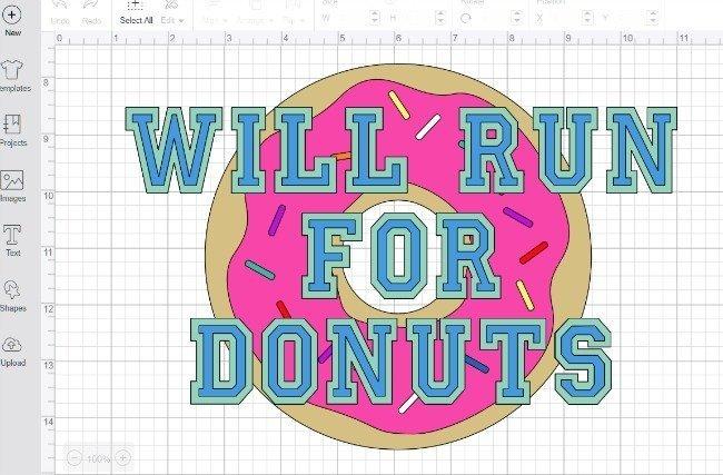 will run for donuts t-shirt design in Cricut Design Space