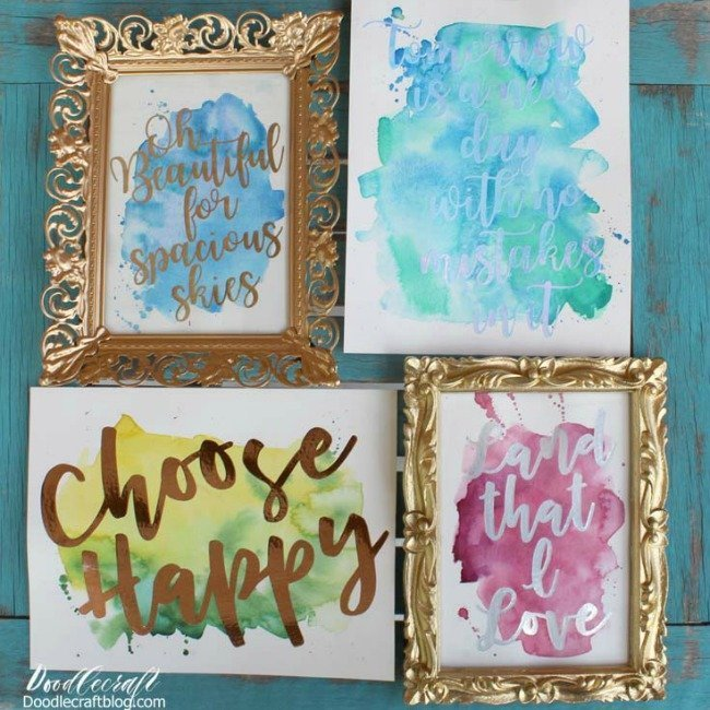 four watercolor pieces of artwork with phrases