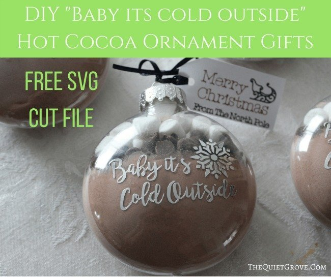 clear ornament with hot chocolate powder inside