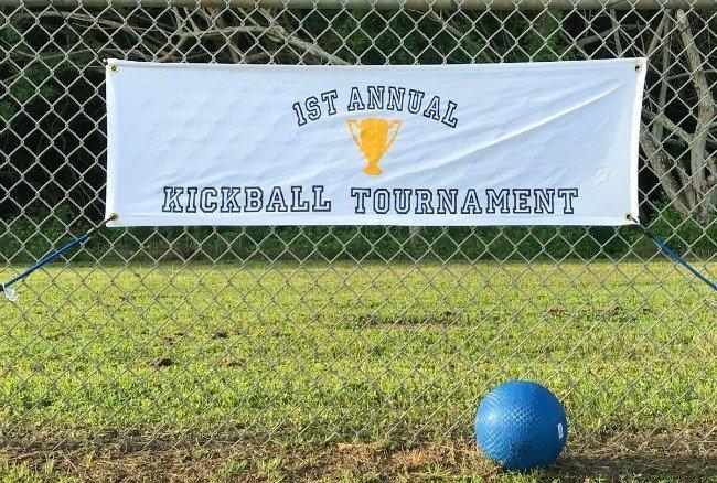 kickball banner made with Cricut