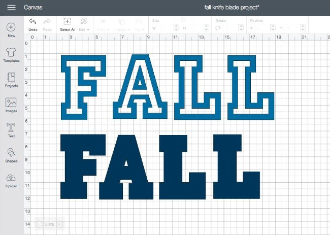 Varsity Letter font in the word fall in Cricut Design Space