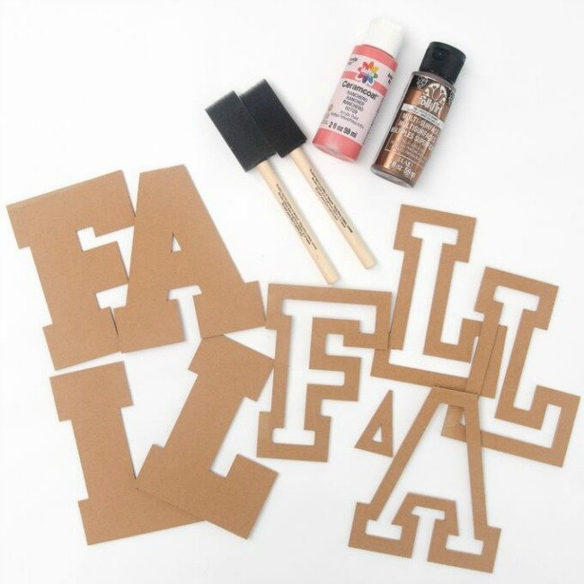 fall chipboard words and paint