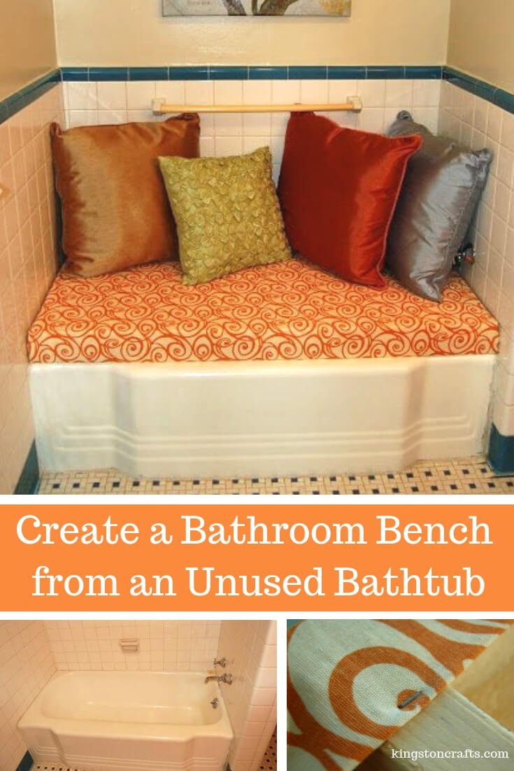 Create a Bathroom Bench from an Unused Bathtub - The Kingston Home: Do you have a bathtub that you are not using, but you can't remodel because the timing is not right? Well, why not turn that bathtub into a bathroom bench! Find out how in this easy tutorial! via @craftykingstons