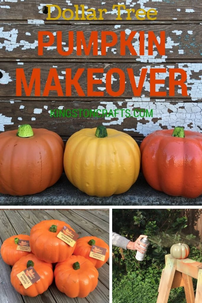 Dollar Tree Pumpkin Makeover - Kingston Crafts